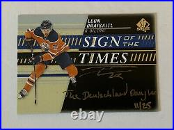 19/20 SP Authentic Leon Draisaitl sign of the times GOLD Inscribed 11/25 WOW