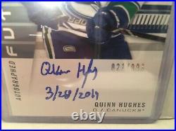 19/20 Sp Authentic Future Watch Auto Inscribed Quinn Hughes /999
