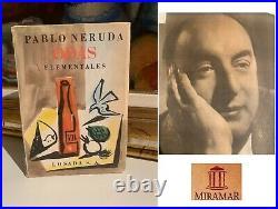 1954 Original book Autograph Signed by PABLO NERUDA ODAS Poems Art Chile + COA