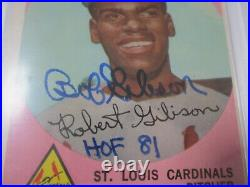 1959 Topps Bob Gibson Signed Autographed Rookie Card RC Inscribed HOF Psa 4