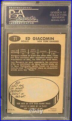 1965 Topps Eddie Giacomin Signed Rc Rookie Card Psa 4.5 Auto Inscribed Hof 87