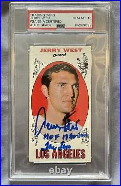 1969-70 Topps Basketball Jerry West autographed and inscribed GEM MINT 10 PSA