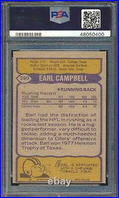 1979 Topps #390 Earl Campbell HOF RC Autographed PSA/DNA HOF Inscribed 60754