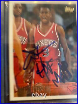 1996-97 Topps Allen Iverson Rc Rookie Card 171 Auto Signed Bas Inscribed Hof Mvp