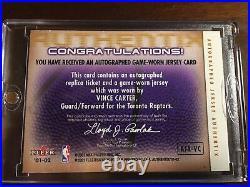 2001-02 Fleer Vince Carter AuthenTIX JERSEY Ticket Autographed w#15 Inscribed