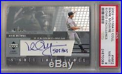 2002 Ultimate Collection Mark McGwire Signed Excellence Auto Inscribed 583 #/65