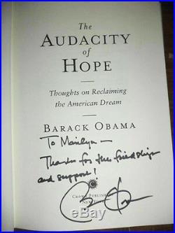 2006 1st Ed BARACK OBAMA THE AUDACITY OF HOPE SIGNED & INSCRIBED