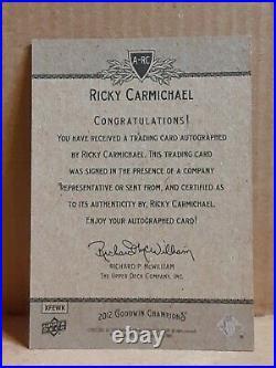 2012 Goodwin Champions RICKY CARMICHAEL Autograph Inscribed #4 Rare NM/MT