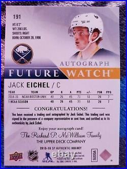 2015-16 Jack Eichel Sp Authentic rookie Inscribed Future Watch Autograph