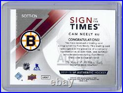 2017-18 UD SP Authentic Cam Neely Sign Of The Times 2005 HOF Inscribed AUTO /25