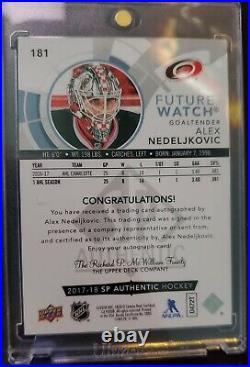 2017-18 Upper Deck SP Authentic Alex Nedeljkovic Future Watch Auto/999 INSCRIBED