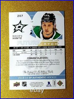2018-19 SP Authentic Future Watch Auto Inscribed ROOPE HINTZ Rookie Aurograph