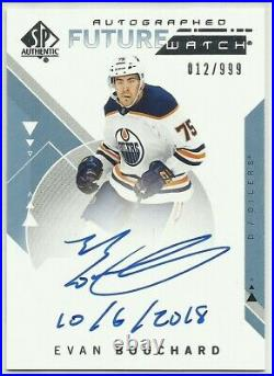 2018-19 Sp Authentic Evan Bouchard Rc Future Watch Inscriptions Inscribed #/50