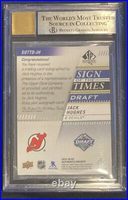 2019-20 SP Authentic Jack Hughes Sign Of The Times Draft Auto Inscribed /15