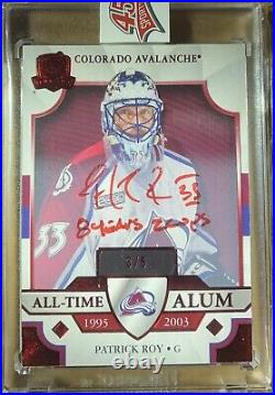 2019-20 UD The Cup Patrick Roy 3/5 All-Time Alum Auto Inscribed 8 Years 2 Cups