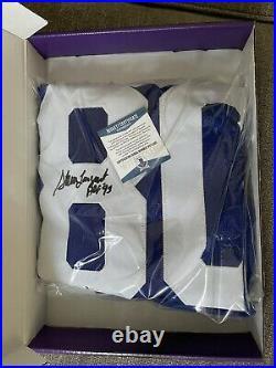 2020 Leaf Autographed Football Steve Largent Jersey Inscribed HOF 95