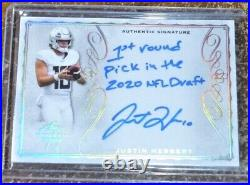 2020 Leaf Trinity Justin Herbert Auto #d 4/5 Signed Inscribed Autograph Rc Card