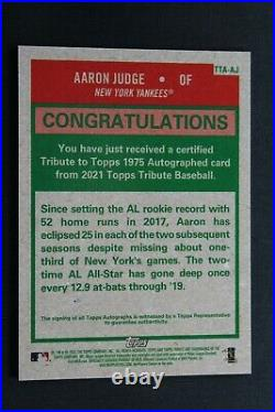 2021 Topps Tribute AARON JUDGE Yankees Inscribed Auto 1975 Topps Auto (B2367)