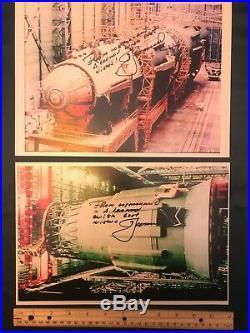 A. Leonov signed/inscribed N-1 Soviet Moon rocket 2 photos set