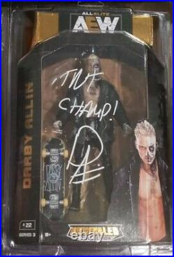 AEW UNRIVALED Darby Allin Signed Autographed WWE Elite COA inscribed