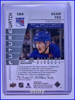 Adam Fox Future Watch Auto Inscribed SP Authentic 19/20 49/999