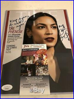 Alexandria Ocasio-cortez Time Magazine Cover Signed & Inscribed Jsa Approved Aoc