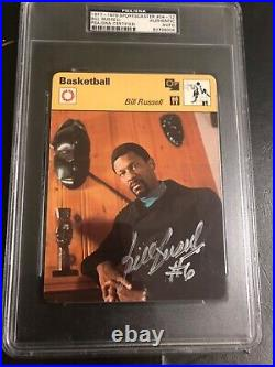 Autographed Bill Russell sports caster card with 6 inscribed PSA certified signed