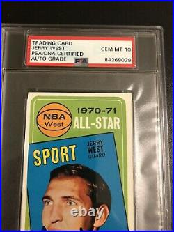 Autographed Jerry West Topps 1971 All Star Card Inscribed PSA 10 Signature Grade
