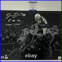 Autographed/Signed JOSH JACOBS Inscribed Las Vegas Raiders 16x20 Photo BAS COA