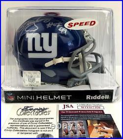 Autographed/Signed LAWRENCE TAYLOR Speed Mini Helmet Inscribed HOF 99 JSA COA