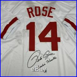 Autographed/Signed PETE ROSE Inscribed Charlie Hustle White Jersey Holo COA #1