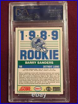 Barry Sanders 1989 Score Inscribed ROY 89 Auto Rookie Card PSA/DNA Certified
