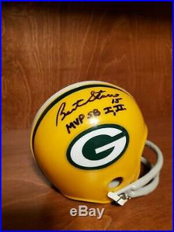 Bart Starr Autographed Inscribed Mvp Sb I II Packers Hof Signed Mini Helmet Coa