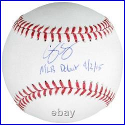 COREY SEAGER Autographed Dodgers MLB Debut 9/3/15 Inscribed Baseball FANATICS