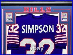 Custom Framed O. J. Simpson Autographed Jersey JSA COA Inscribed HOF 85 (Bills)