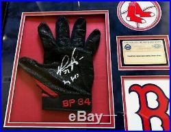 DAVID ORTIZ Game Used Framed Batting Gloves Autographed X2 Inscribed JSA Steiner