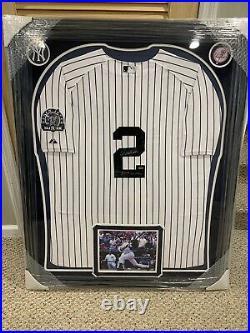 Derek Jeter Autographed Inscribed 3000th hit 7-9-11 Framed Jersey Steiner