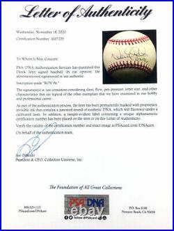 Derek Jeter Signed Autographed Al Baseball Inscribed Roy 96 Psa Yankees Captain