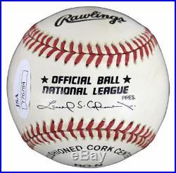 Eddie Mathews autographed signed national league baseball inscribed HOF JSA COA