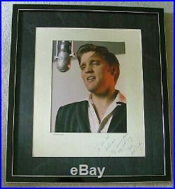 Elvis Presley Signed 11x14 Color Photo COA from PSA/DNA Inscribed to Ed Sullivan