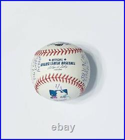 Ernie Banks Autographed Baseball Inscribed STATS (1/1) Mounted Memories & MLB