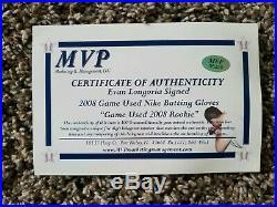Evan Longoria Jersey, Autographed Inscribed Bat & Game Used Batting Gloves