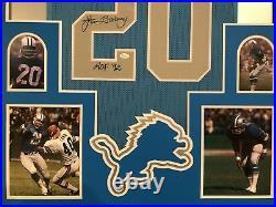 Framed Detroit Lions Lem Barney Autographed Signed Inscribed Jersey Jsa Coa