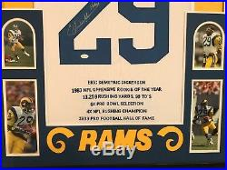 Framed Eric Dickerson Autographed Signed Inscribed L. A. Rams Stat Jersey Jsa Coa