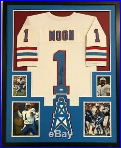Framed Houston Oilers Warren Moon Autographed Signed Inscribed Jersey Jsa Coa