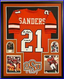 Framed Oklahoma State Barry Sanders Autographed Signed Inscribed Jersey MM Holo