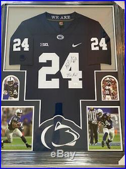 Framed Penn State Miles Sanders Autographed Signed Inscribed Jersey Jsa Coa