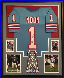 Framed Warren Moon Autographed Signed Inscribed Houston Oilers Jersey Jsa Coa