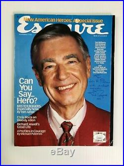 Fred Rogers Autographed Esquire Magazine November 1998 Inscribed with JSA COA