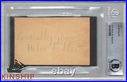 Helen Keller signed Inscribed cut Beckett BAS Slabbed Auto d. 1968 Rare C595
